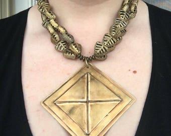 Brass Tribal-inspired Cross Pendant and Tribal Beads