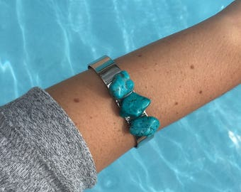 Turquoise stone silver cuff bracelet