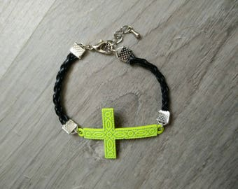 Faux leather and green cross bracelet