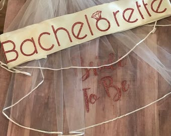 Bachelorette Veil l Bachelorette Sash l Personalized Sash l Personalized Veil l Bachelorette Apparel l Bride To Be l Bachelorette Party Gift