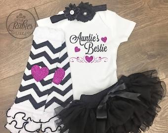 Baby girl baby shower gift Auntie's bestie Baby shower gift baby girl shower gift Aunt baby shower gift baby girl shower gift girl outfit