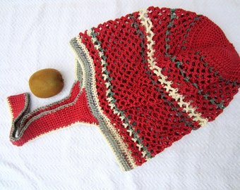 Shopping or beach red and green crochet bag