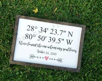 Coordinates, latitude and longitude, wedding gift, housewarming gift, anniversary gift, custom hand-painted sign, wood framed sign