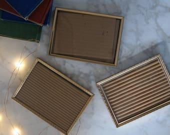 set of 3 gold picture frames 5x7 vintage antique wedding decor standing feminine table number holder home decor