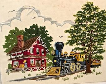Vintage Embroidery Train Station Scene