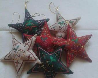 Silk Christmas ornaments.Embroidered Christmas ornaments, star decoration,Star Christmas ornaments