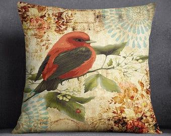 Bird Printed Multicolour Pillow Case, Decorative Cushion Cover, Living Room Cushion Cover, Designer Cushion Cover, SUB-SAS112A