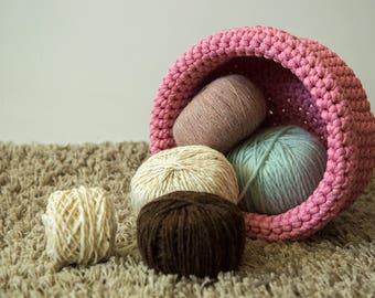 Woven basket, Toy basket, Living room storage, Storage basket, Home decor, Crochet rope basket, Kids room decor, Mothers day gift