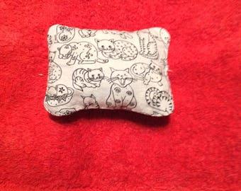 Cat print catnip pillow, handmade