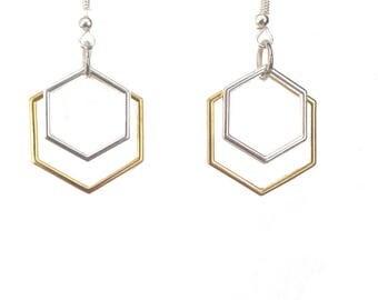 Hexagon Earrings, Gold & Silver Hexagon Earrings, Geometric Earrings, Modern Earrings, Hexagon Dangle Earrings, Double Hexagon Earrings