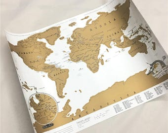 Scratch the World scratch off places you travel map print! - gift for him, gift for her, travel gift, gift, wall hanging, home decor