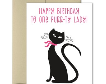 Birthday card - Birthday Card for her - Cat birthday card - Cat cards - Purr-ty Lady - Girlfriend Birthday
