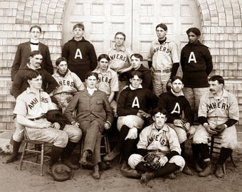 "1896 Amherst College, MA Baseball Team Vintage Photograph 8.5"" x 11"" Reprint"