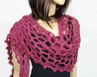 Heather - Shawl scarf/shawl very light and Lacy crochet women shawl shoulder warmer hand knit wool and alpaca