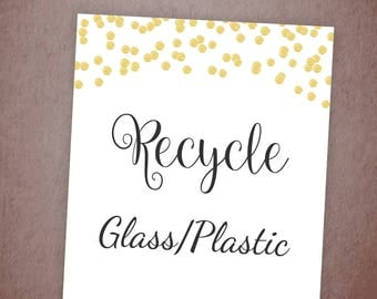 Recycle Sign, Recycle Glass Plastic Bottles, Paper Cups, Let's Recycle Printable, Wedding Shower Signs, Instant Download, Used Stuff, A001
