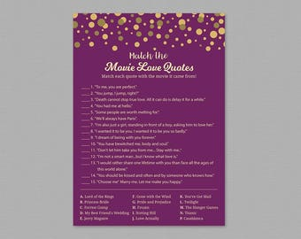Movie Love Quote Match Game Printable, Match the Movie Love Quotes, Purple Gold Bridal Shower, Wedding Shower, Movie Romantic Quotes, A006