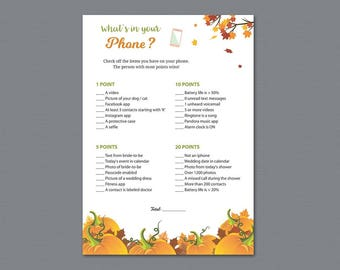 Fall Theme Whats in your Phone Game Printable, Autumn Winter Leaf, What's on Your Phone, Bridal Shower Games Download, Bachelorette, A022