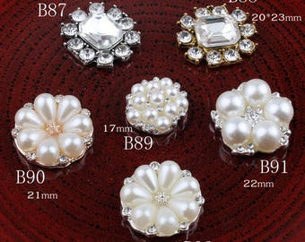 Vintage Pentagram/round/flower Metal Rhinestone Buttons Bling Flatback Flower Centre Crystal Buttons for Hair accessories