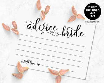 Bridal Shower Advice For The Bride Cards, Bridal Shower Advice Printable Cards, Marriage Advice Cards, Bridal Shower Games Instant Download