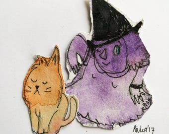 Cute witch and her sarcastic cat