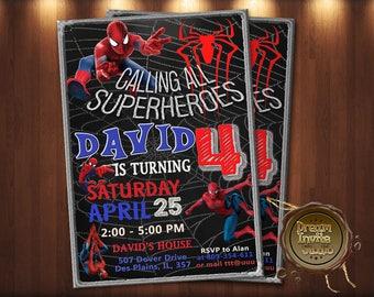 Spiderman Invitation. Spiderman Birthday Invitation. Printable Spiderman. Spiderman Party. Spiderman Invite