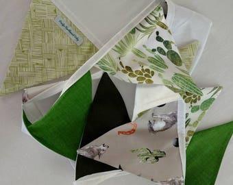Desert Cactus Bunting - green, ten flag bunting *Ready to ship!*