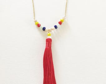 Red necklace, Bright necklace, beaded tassel necklace, tassel necklace