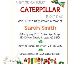 Digital Hungry Caterpillar Baby Shower Invitation