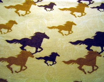 Horses Running Flannel Fabric By The Yard 36 Inches Long