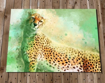 CHEETAH Art Print - Safari Animals - Green Wall Art - Big Cat Painting - Cheetah Picture - Nature Prints - Nursery Decor