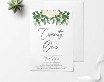 Floral Printable Birthday Invitation, Custom Printable Invitation, 30th Birthday, 21st Birthday, 18th Birthday, DIY Birthday Invitation