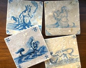 Delft Mermaid Coaster Set- 18th Century Delft tiles, stone coasters,  set of 4