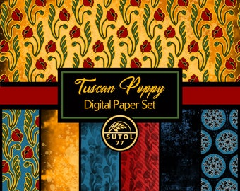 Tuscan Poppy Digital Paper Set