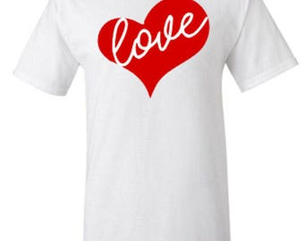Love Heart Valentine's Day Adult Unisex Tshirt