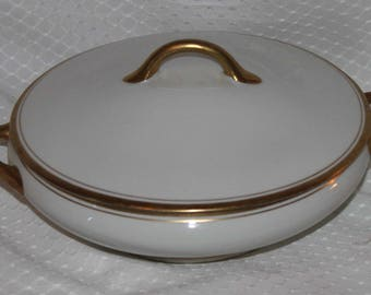 "Vintage Syracuse China ""Old Colony"" OP Co Covered Serving Dish Bowl - White w/ Gold Trim"