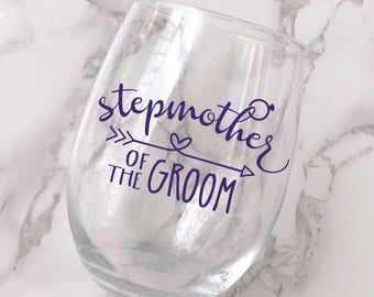 Stepmother of the Groom Wine Glass Decal - DECAL ONLY