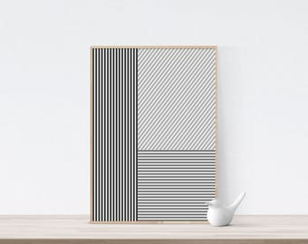 Nordic design print, nordic wall print, abstract line art, black and white art, geometric wall art print, printable wall art, minimalist art