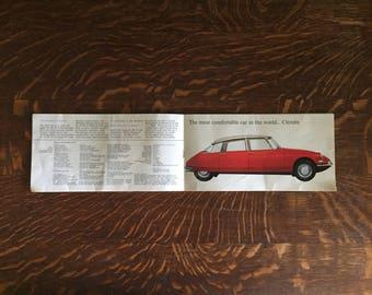 Vintage Citroen brochure Circa 1960 sales brochure for DS19 /IS19