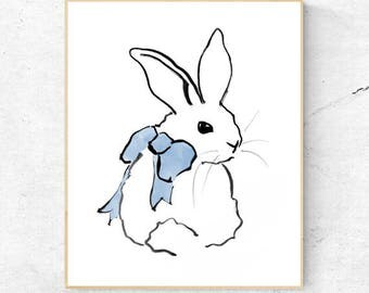 Rabbit Watercolour Fine Art Print, Woodland Nursery, Boys room, Wall Decor, Baby Animal Print, Printable Bunny, Digital Download