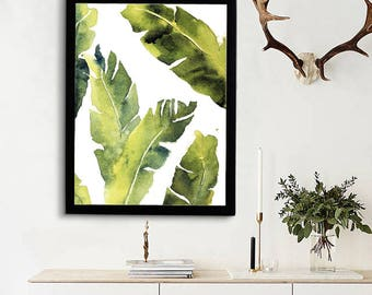 Tropical Banana Leaves Print, Contemporary Art, Kitchen Decor, Palm Leaf Print, Printable Green Lush Artwork Wall Poster, Digital Download