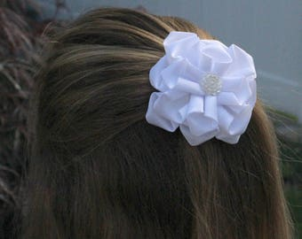 Royal White Kanzashi Flower, Hairclip, Wedding, Baby Shower, Party, Flower Girls, White Flowers, Girl Hairclips, Hair Accessories,