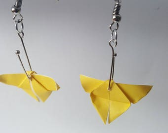 Origami butterflies yellow lemon earrings