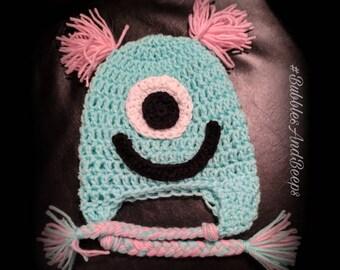 Toddler Monster Hat • one eyed monster • crochet monster * pink and blue • silly monster • whimsical • girly girl •