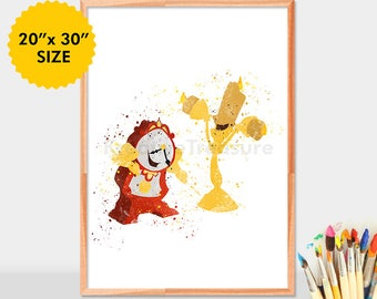 Beauty and the Beast Cogsworth and Lumiere Print Watercolor Art Lumiere Disney Poster Nursery Kids Home Decor Gift Digital Download