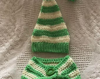 Crochet Baby Elf Hat and Diaper Cover, Christmas Photo Prop Set