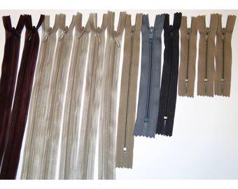 Set of 13 tones Brown zippers