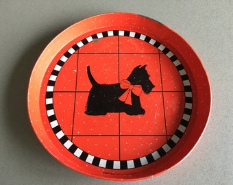 Scottie Dog Round Metal Tray. Red. White. Black. Perfect for Serving Hot Chocolate. Dept. 56