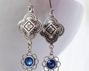 Art Deco Earrings, Sapphire, Swarovski Crystal, Vintage Drop Earrings, Edwardian Earrings, Antique Sterling Silver Connector, Handmade UK