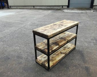 Industrial chic style 3 tier shelf unit