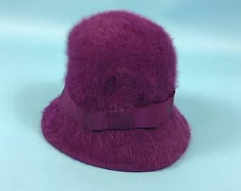 Vintage 90s Kangol Fluffy Purple Bucket Rave Hat